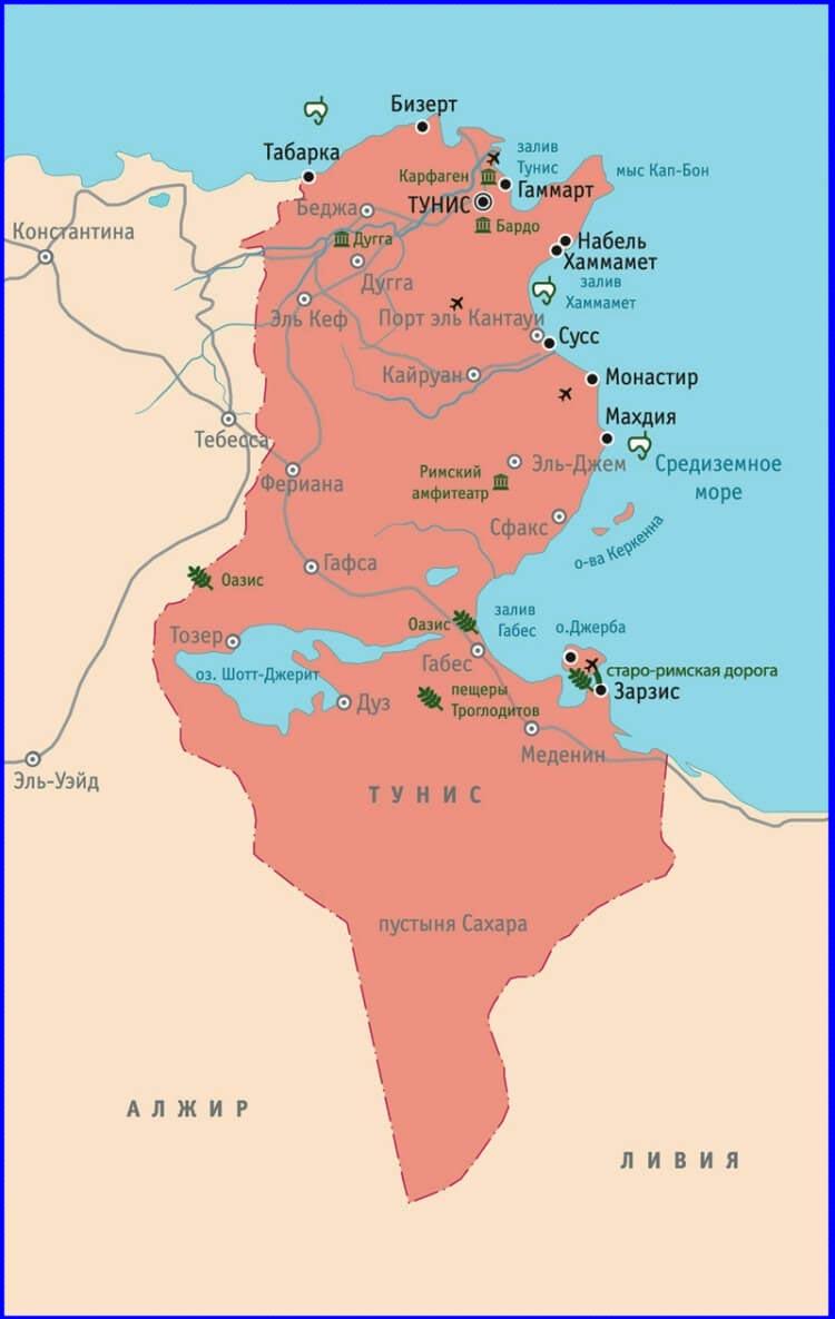 джерба на карте африки