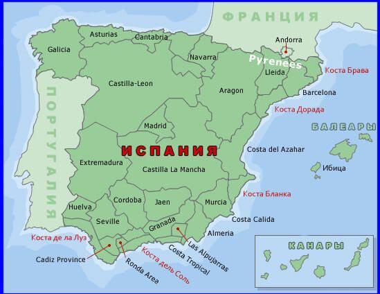 Коста Брава на карте Испании. Побережье Коста-Брава