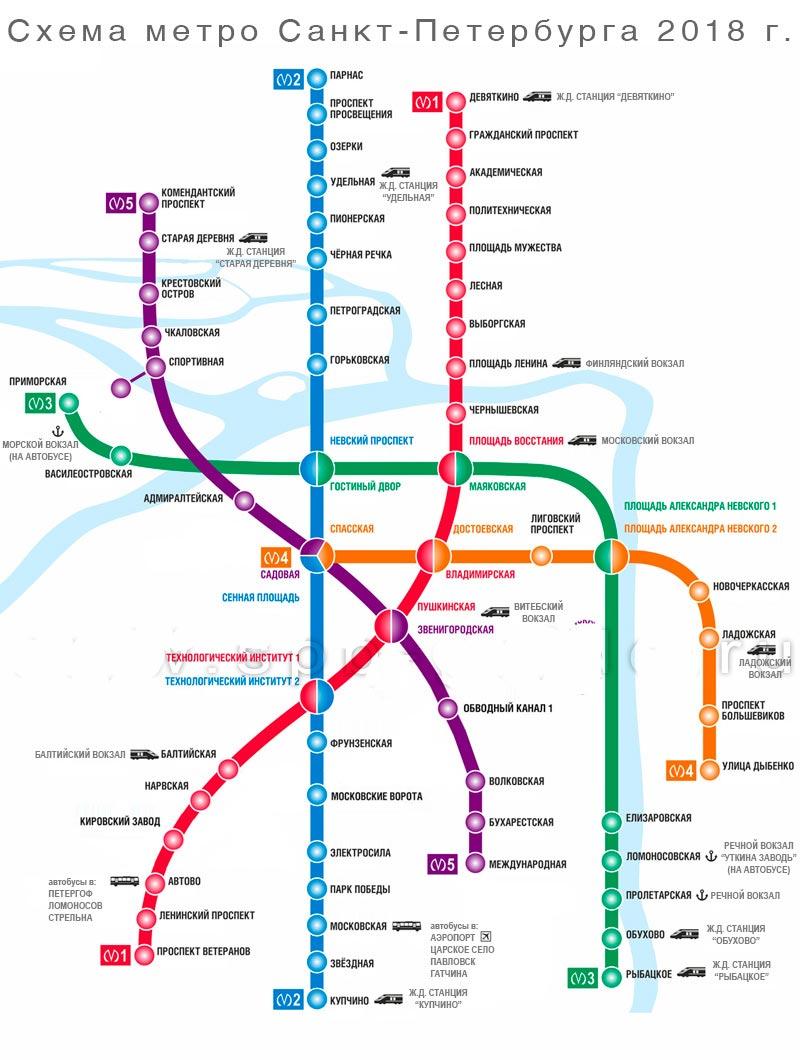 Метро спб схема с новыми станциями 2018