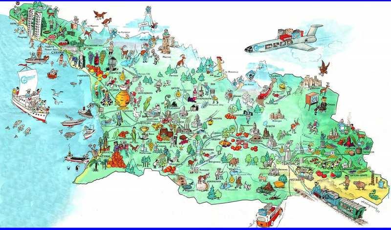 Карта Грузии с городами и поселками на русском языке. Подробная карта  2018