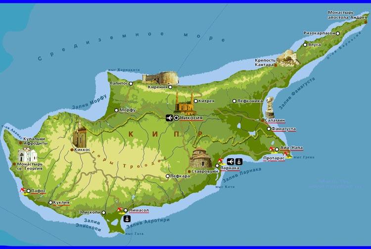 Кипр на карте мира. Где находится остров Кипр