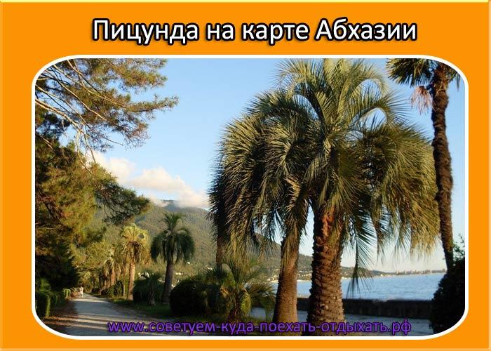 Пицунда на карте Абхазии. Где находится, подробная карта