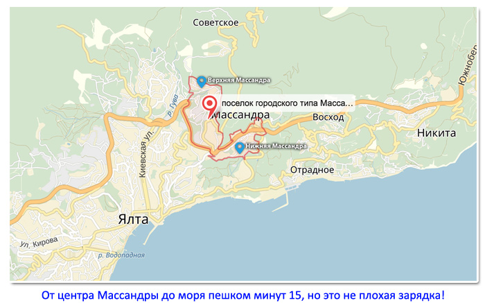 Массандра на карте Крыма: где находится прекрасный Крымский курорт
